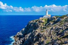 Leuchtturm nah an Cala Rajada, Majorca Lizenzfreie Stockbilder
