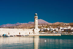 Leuchtturm in Rethymnon, Kreta, Griechenland Lizenzfreies Stockfoto