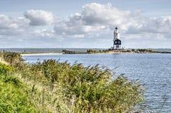 Leuchtturm, Schilfe und See Marken lizenzfreies stockfoto
