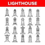 Leuchtturm, Seeleuchtfeuer-linearer Vektor-Ikonen-Satz vektor abbildung