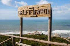Leuchtturm Selfie Farol Cabo Mondego Stockfotos