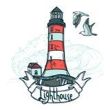 Leuchtturm-Skizzen-Illustration Stockbild