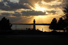 Leuchtturm-Sonnenuntergang Stockbilder