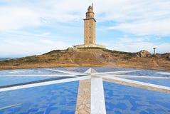 Leuchtturm-Turm von Herkules, La Coruna, Galizien Lizenzfreie Stockbilder
