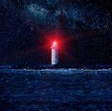 Leuchtturm und die Sterne Stockfoto