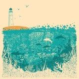 Leuchtturm und Meereswellen mit Unterwasserseehintergrund auf altem p lizenzfreie abbildung