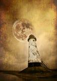 Leuchtturm und Mond Lizenzfreies Stockfoto