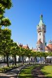 Leuchtturm und Park in Sopot-Stadt in Polen Stockfotografie