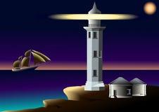 Leuchtturm und Segelboot im Ozean Stockfotografie