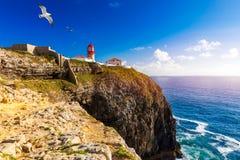 Leuchtturm von Cabo-Sao Vicente, Sagres, Portugal Farol tun Cabo-Sao Vicente errichtete im Oktober 1851 Cabo de Sao Vicente ist lizenzfreie stockbilder