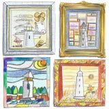 Leuchtturm-Zeichnungen Stockbild