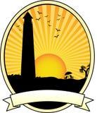 Leuchtturmküstensonnenuntergangschattenbild Stockbilder