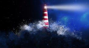 Leuchtturmnachtansicht des Meeres von einem offenen Fenster mit einem orientalischen patternA Leuchtturm im nächtlichen Himmel, s stock abbildung