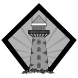 Leuchtturmvektorlogo lizenzfreie stockbilder