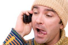 Leugenaar op de telefoon Stock Fotografie