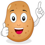 Leuk Aardappelkarakter met omhoog Duimen Stock Foto