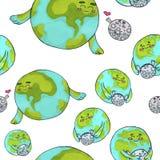 Leuk aarde en maanpatroon voor jonge geitjes tellersart. royalty-vrije illustratie
