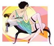 Leuk abstract meisje op de bank Mensen in retro stijl Royalty-vrije Stock Afbeelding