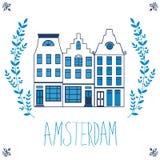 Leuk Amsterdam huisvest kleurrijke reeks Stock Afbeelding
