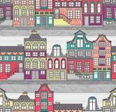 Leuk Amsterdam huisvest naadloos patroon Stock Fotografie