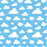 Leuk baby naadloos patroon met blauwe hemel met witte wolken vlakke pictogrammen De achtergrond van wolkensymbolen voor jonge gei vector illustratie