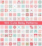 100 leuk baby naadloos patroon Retro wit roze, Stock Foto's