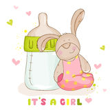Leuk Babykonijntje - Aankomstkaart Stock Afbeeldingen