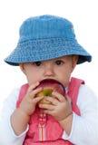 Leuk babymeisje met rode appel Stock Afbeelding