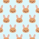 Leuk babypatroon met weinig konijntje Naadloze de drukvector van het beeldverhaal dierlijke meisje Zoete achtergrond met konijn v royalty-vrije illustratie