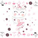 Leuk ballerinakat het dansen ballet in roze tutu royalty-vrije illustratie