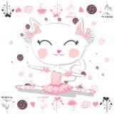 Leuk ballerinakat het dansen ballet in roze tutu vector illustratie