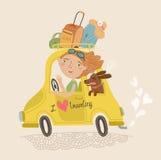 Leuk beeld van een meisje en hond het reizen Stock Afbeeldingen