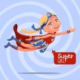 Leuk, beeldverhaal, aanbiddelijk vliegend blond superheromeisje Royalty-vrije Stock Fotografie