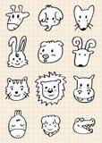 Leuk beeldverhaal dierlijk gezicht Stock Foto's