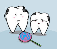 Leuk beeldverhaal droevig tand en suikergoed Royalty-vrije Stock Fotografie