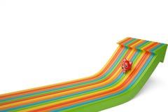 Leuk beeldverhaal Firefox op gekleurde pijlen, 3D illustratie Stock Foto's