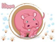 Leuk Beeldverhaal Hippo op een kleurenachtergrond Royalty-vrije Stock Afbeelding