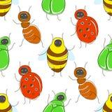 Leuk beeldverhaal naadloos patroon met grappige insecten vector illustratie