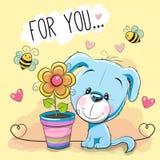 Leuk beeldverhaal Puppyl met bloem stock illustratie