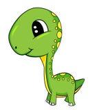 Leuk Beeldverhaal van de Groene Dinosaurus van Babybrontosaurus Stock Foto's