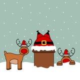 Leuk beeldverhaal vectordieSanta Claus in schoorsteen, grappige Kerstmisillustratie wordt geplakt Royalty-vrije Stock Foto