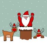 Leuk beeldverhaal vectordieSanta Claus in schoorsteen, grappige Kerstmisillustratie wordt geplakt Stock Foto