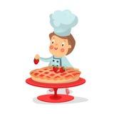 Leuk beeldverhaal weinig van het het karakterbaksel van de jongenschef-kok Illustratie van de de aardbeicake royalty-vrije illustratie