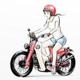 Leuk beeldverhaalmeisje die haar motorfiets berijden Stock Afbeelding