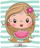 Leuk Beeldverhaalmeisje met watermeloen vector illustratie