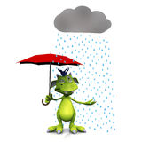 Leuk beeldverhaalmonster in de regen. vector illustratie
