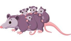 Leuk beeldverhaalopossum met kind vector illustratie