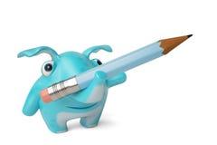 Leuk blauw beeldverhaalolifant en potlood, 3D illustratie Stock Foto
