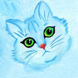 Leuk blauw kattenportret met groene ogen royalty-vrije illustratie
