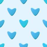 Leuk blauw vector naadloos die patroon (het betegelen) van harten wordt gemaakt vector illustratie